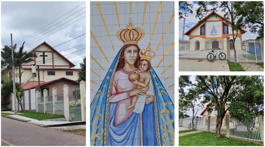 Paróquia Nossa Senhora de Nazaré (parte traseira, pintura principal e frente da igreja, à direita).