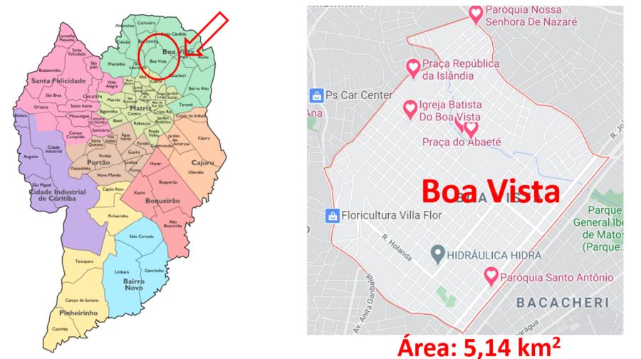Mapa do bairro Boa Vista em Curitiba, Paraná.