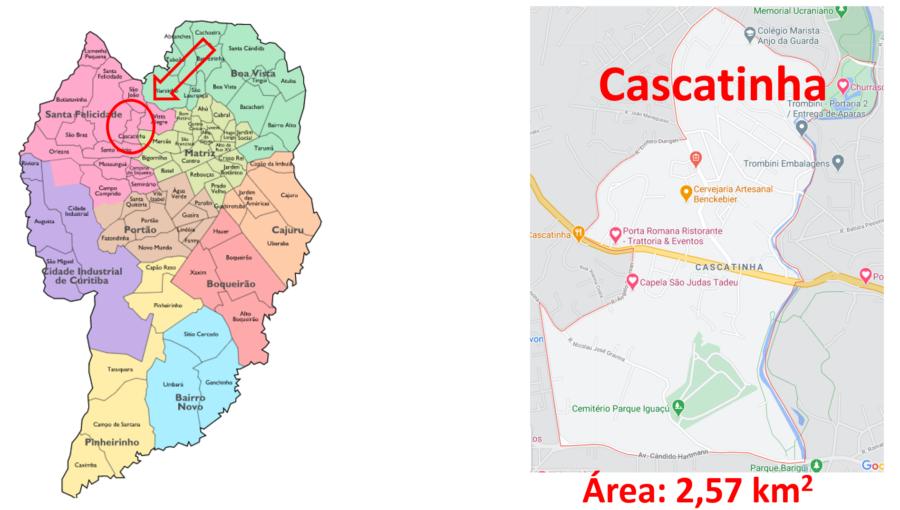 Mapa do bairro cascatinha em Curitiba no Paraná.